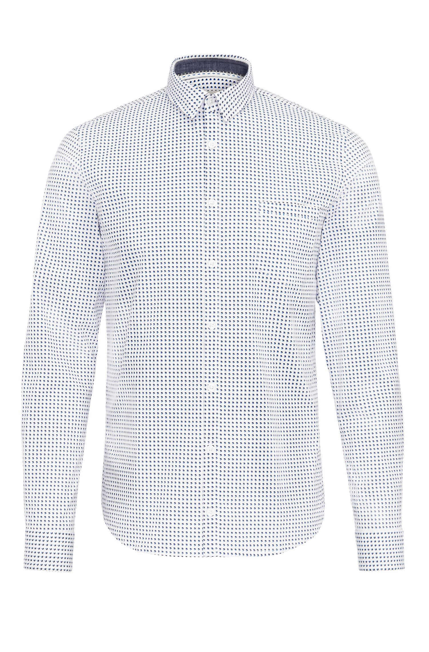Extra-slim-fit shirt in patterned stretch cotton