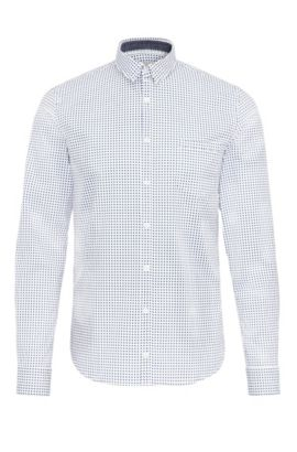 Extra-slim-fit shirt in patterned stretch cotton, White
