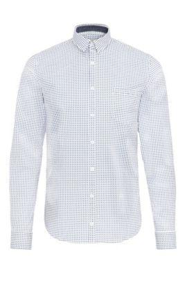 Camicia extra slim fit in cotone elasticizzato a disegni, Bianco