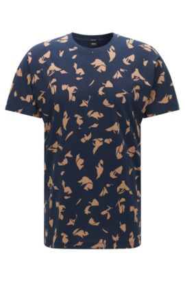 Regular-fit cotton T-shirt with seasonal print, Dark Blue