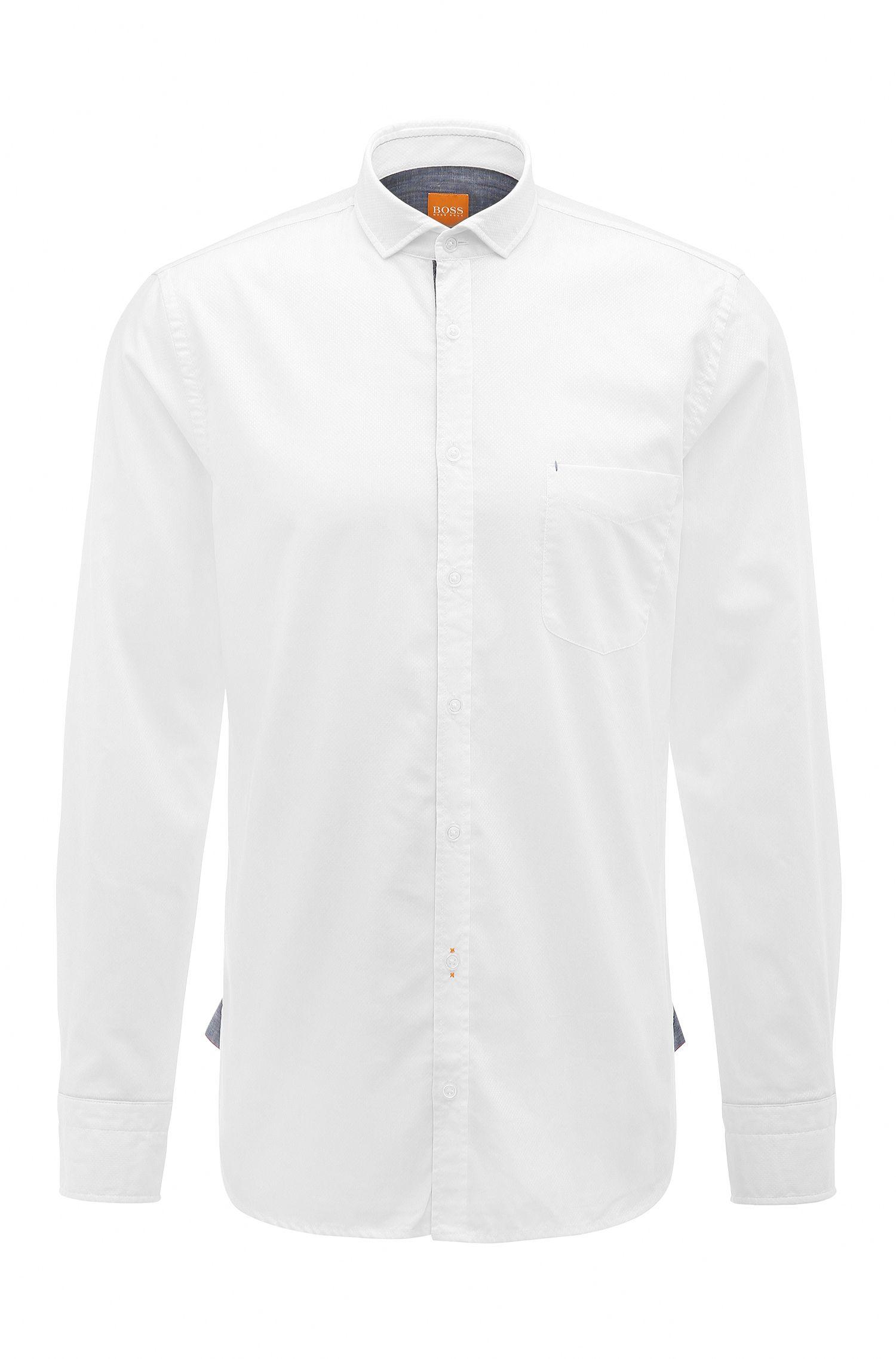 Camicia slim fit in cotone dobby
