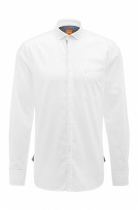 Slim-fit shirt in dobby cotton, White