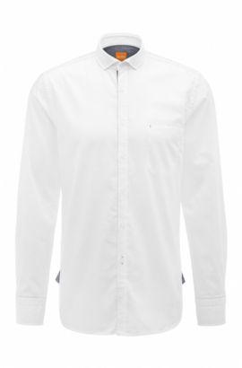 Camicia slim fit in cotone dobby, Bianco