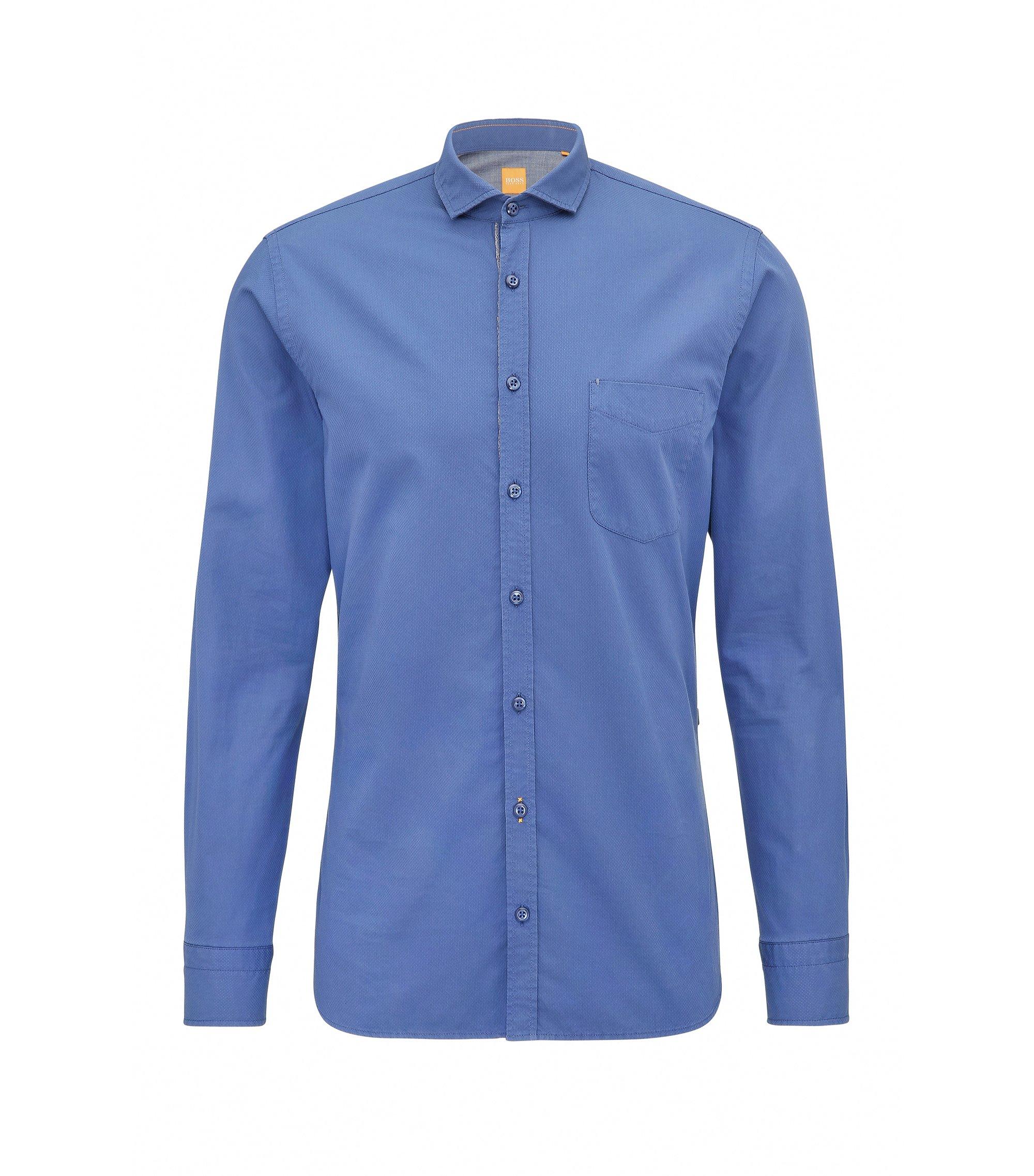 Chemise Slim Fit en coton façonné, Bleu foncé