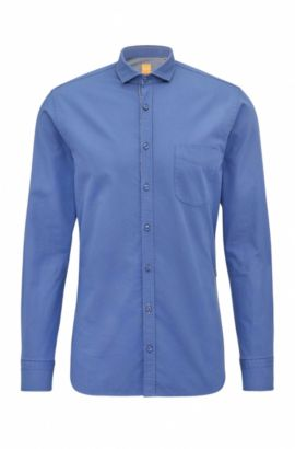 Camicia slim fit in cotone dobby, Blu scuro