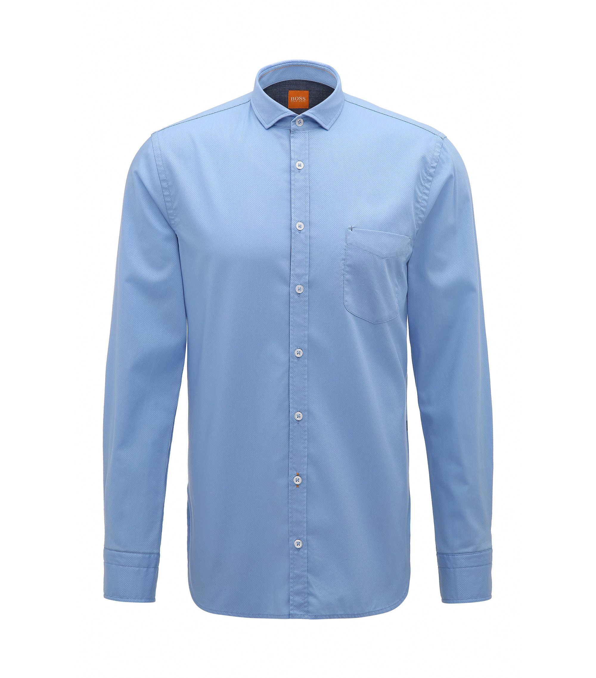 Slim-fit shirt in dobby cotton, Dark Blue