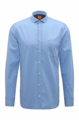 Camicia slim fit in cotone dobby, Blue Scuro