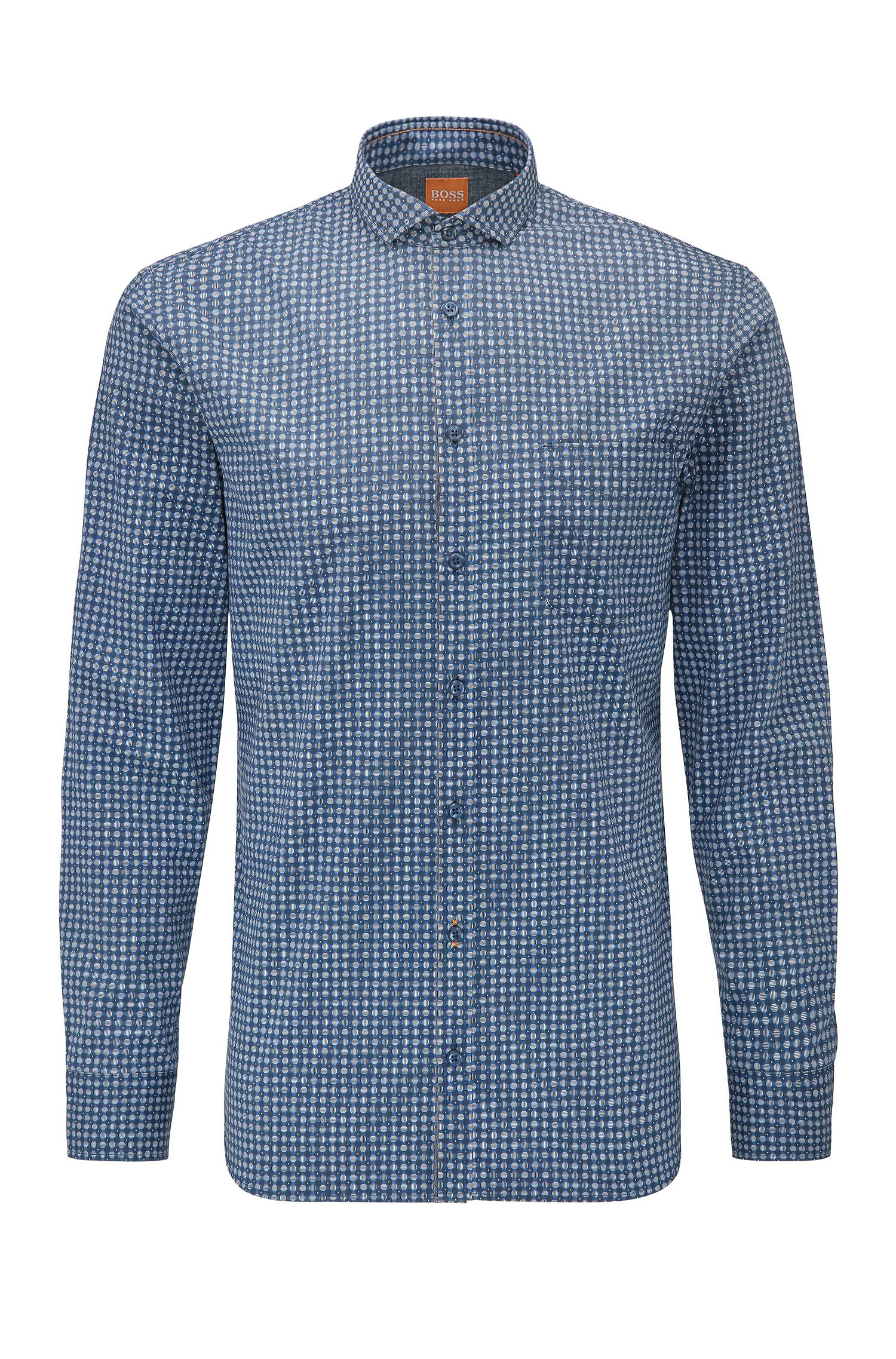 Slim-fit cotton shirt with geometric print