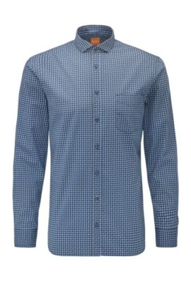 Slim-fit cotton shirt with geometric print, Dark Blue
