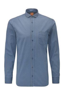 Slim-fit cotton shirt with geometric print, Dark Blue