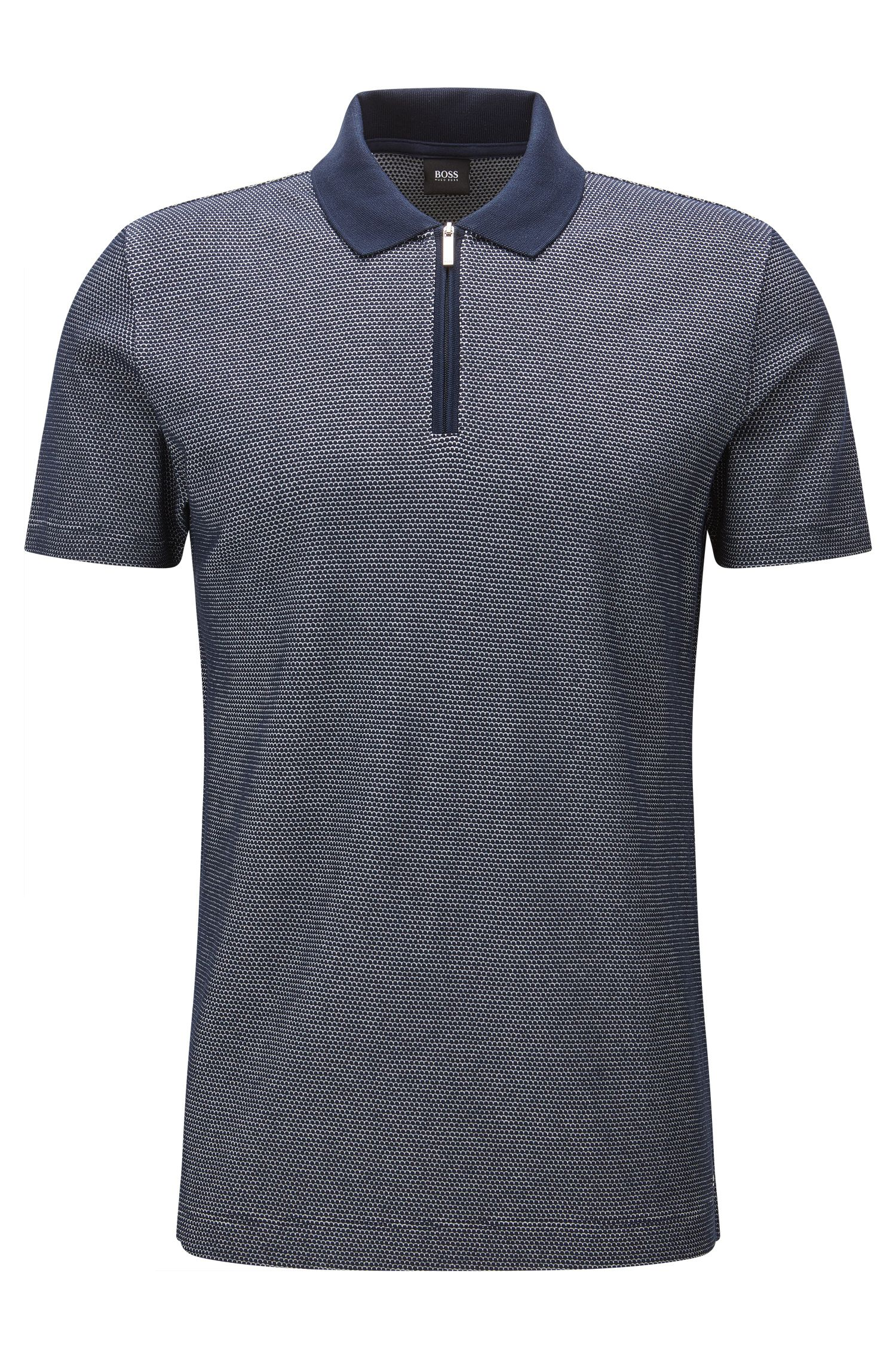 Slim-fit mercerised cotton polo shirt with zip