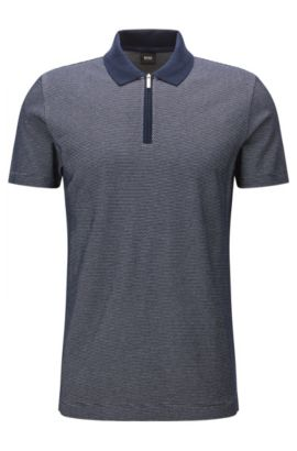 Slim-fit mercerised cotton polo shirt with zip , Dark Blue