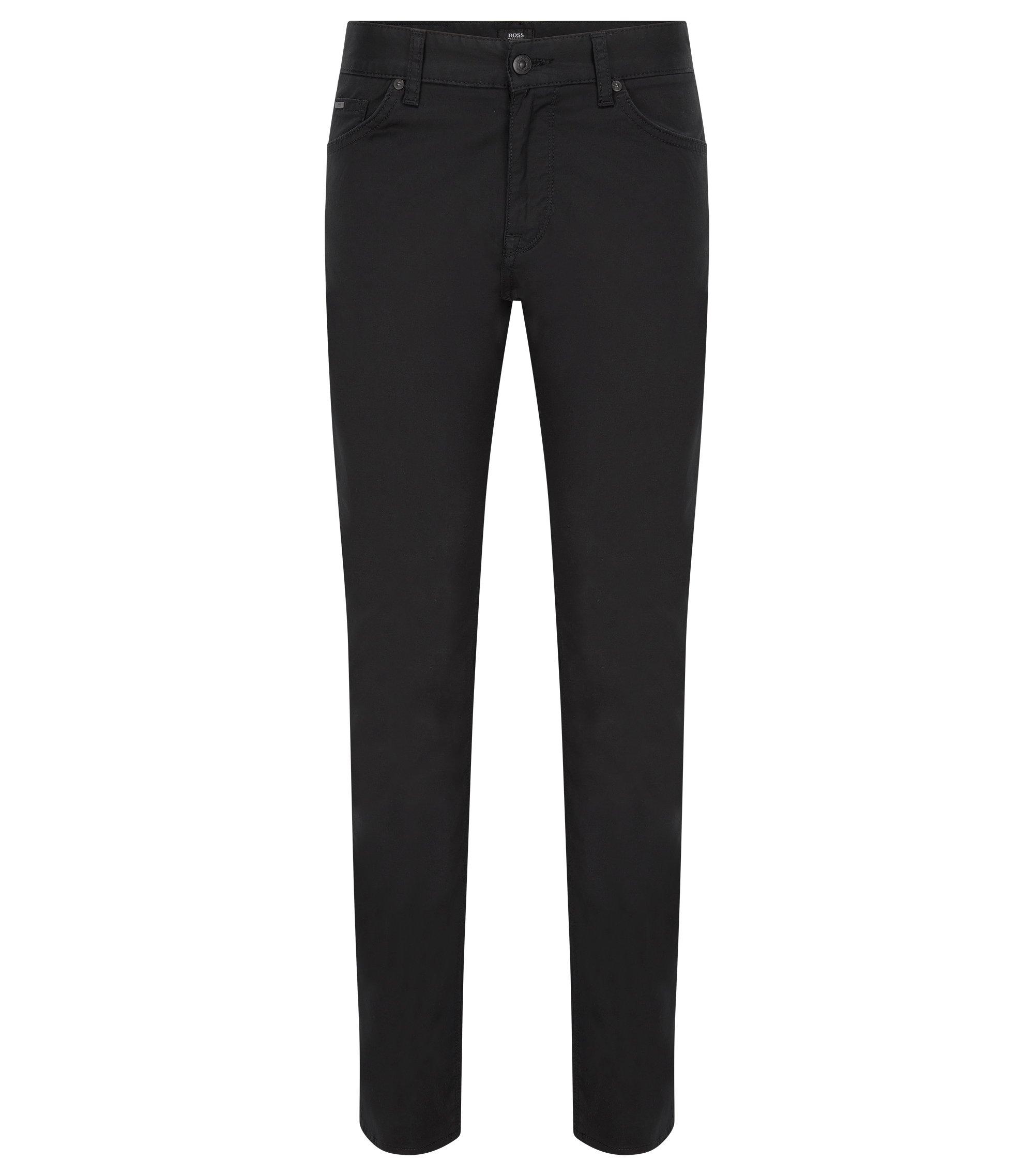 Regular-Fit Jeans aus elastischem Denim, Schwarz