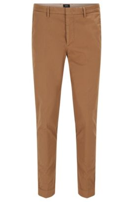 Slim-fit chinos in garment-dyed gabardine, Beige