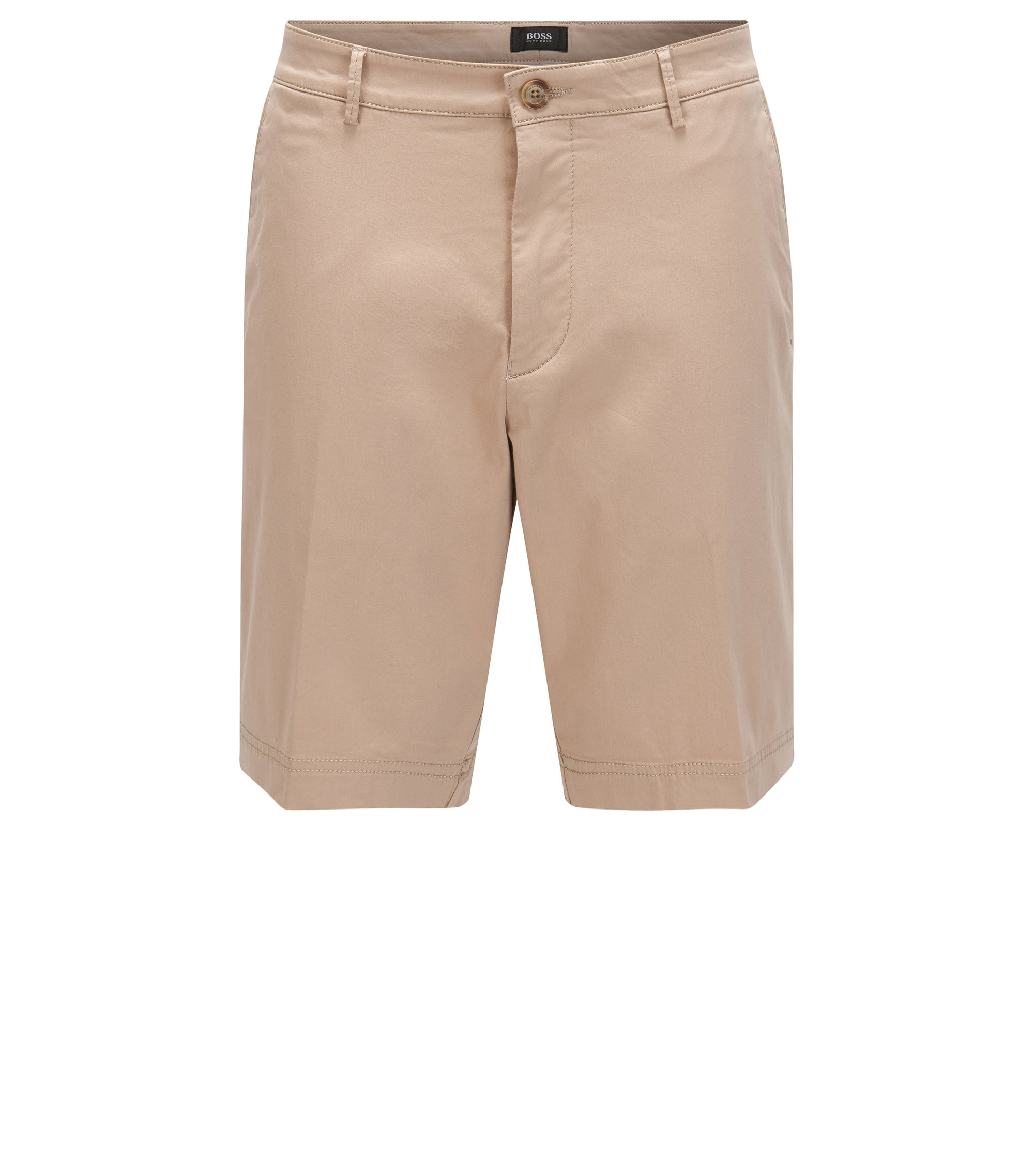 Regular-Fit Shorts aus merzerisierter Stretch-Baumwolle, Hellbeige