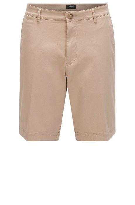 Regular-fit shorts in mercerised stretch cotton, Open Beige