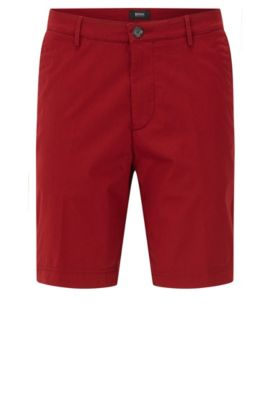 Regular-fit shorts in mercerised stretch cotton, Red