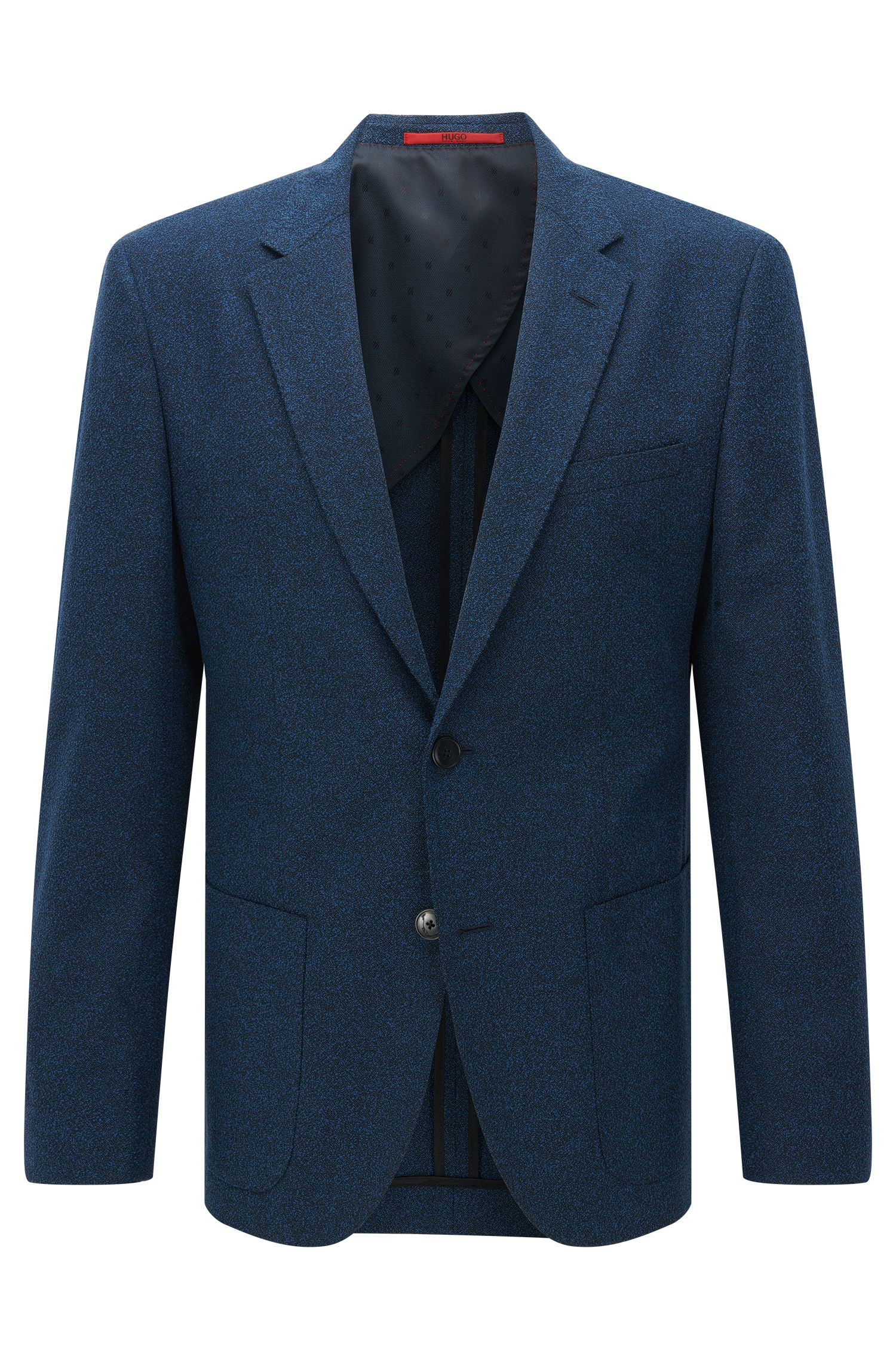 Regular-fit jacket in textured cotton blend