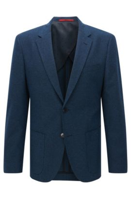 Regular-fit jacket in textured cotton blend, Dark Blue