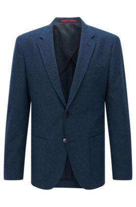 Veste Regular Fit en coton texturé mélangé, Bleu foncé
