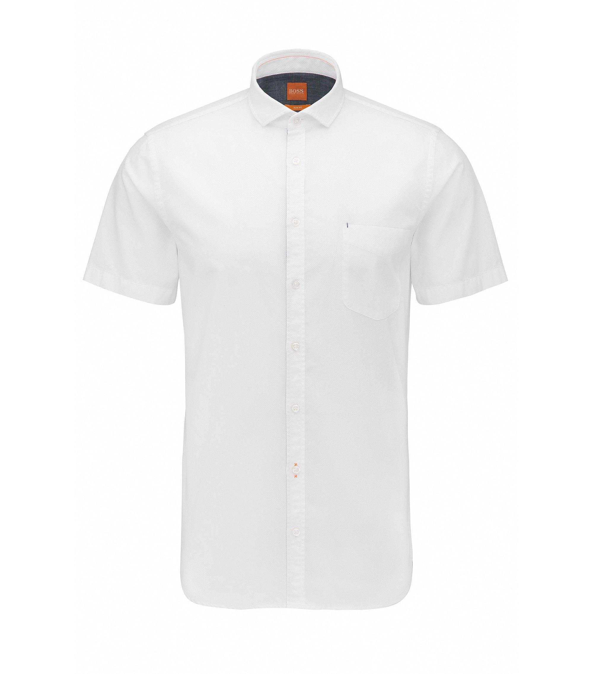 Camicia slim fit a maniche corte in cotone dobby, Bianco