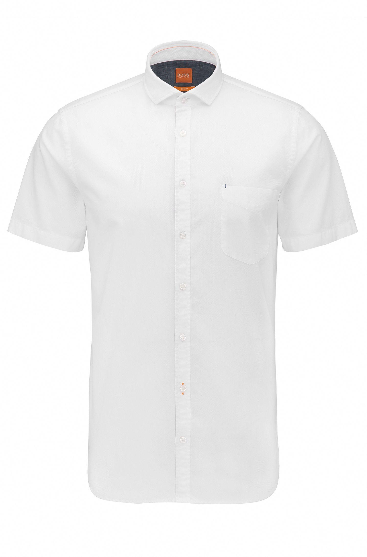 Camicia slim fit a maniche corte in cotone dobby