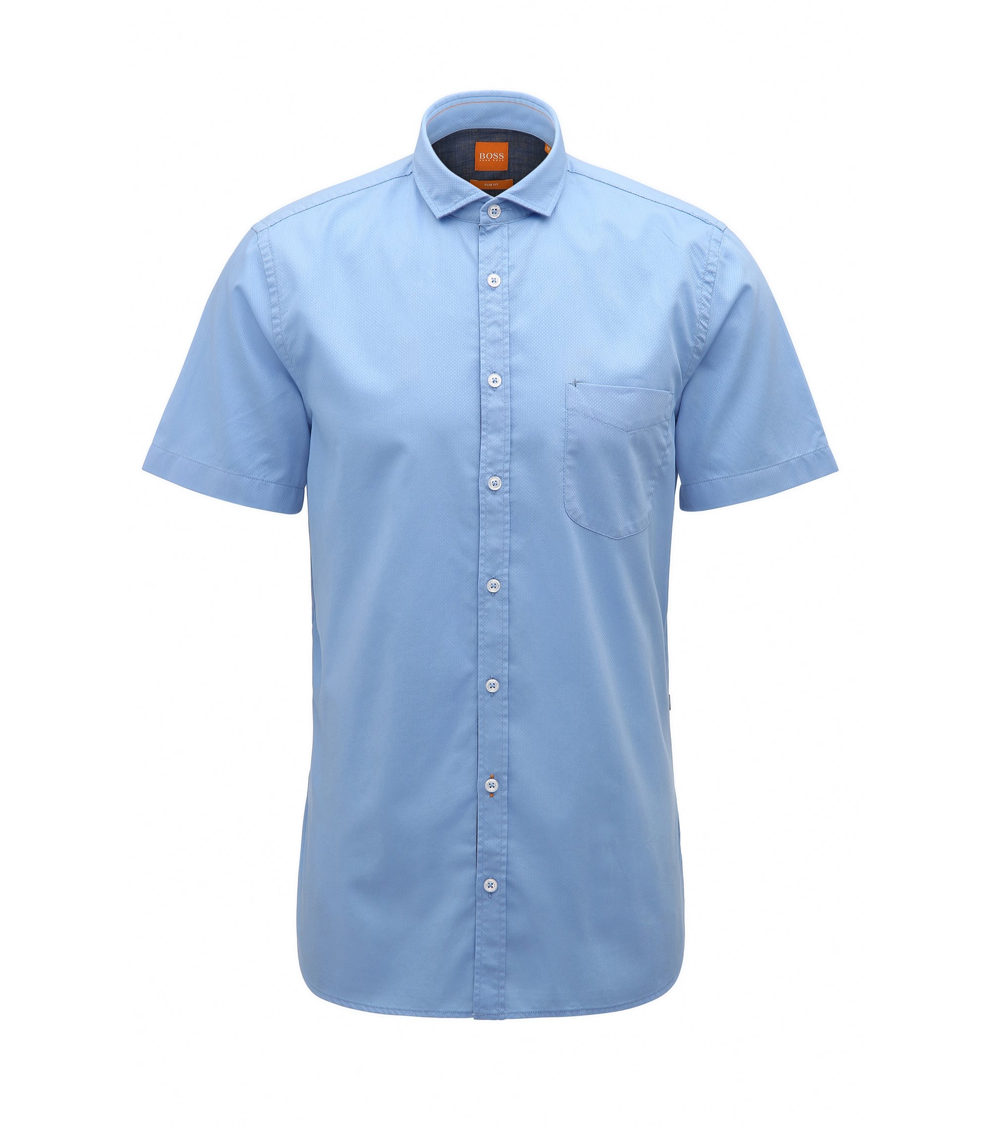 Slim-fit short-sleeved shirt in dobby cotton, Light Blue