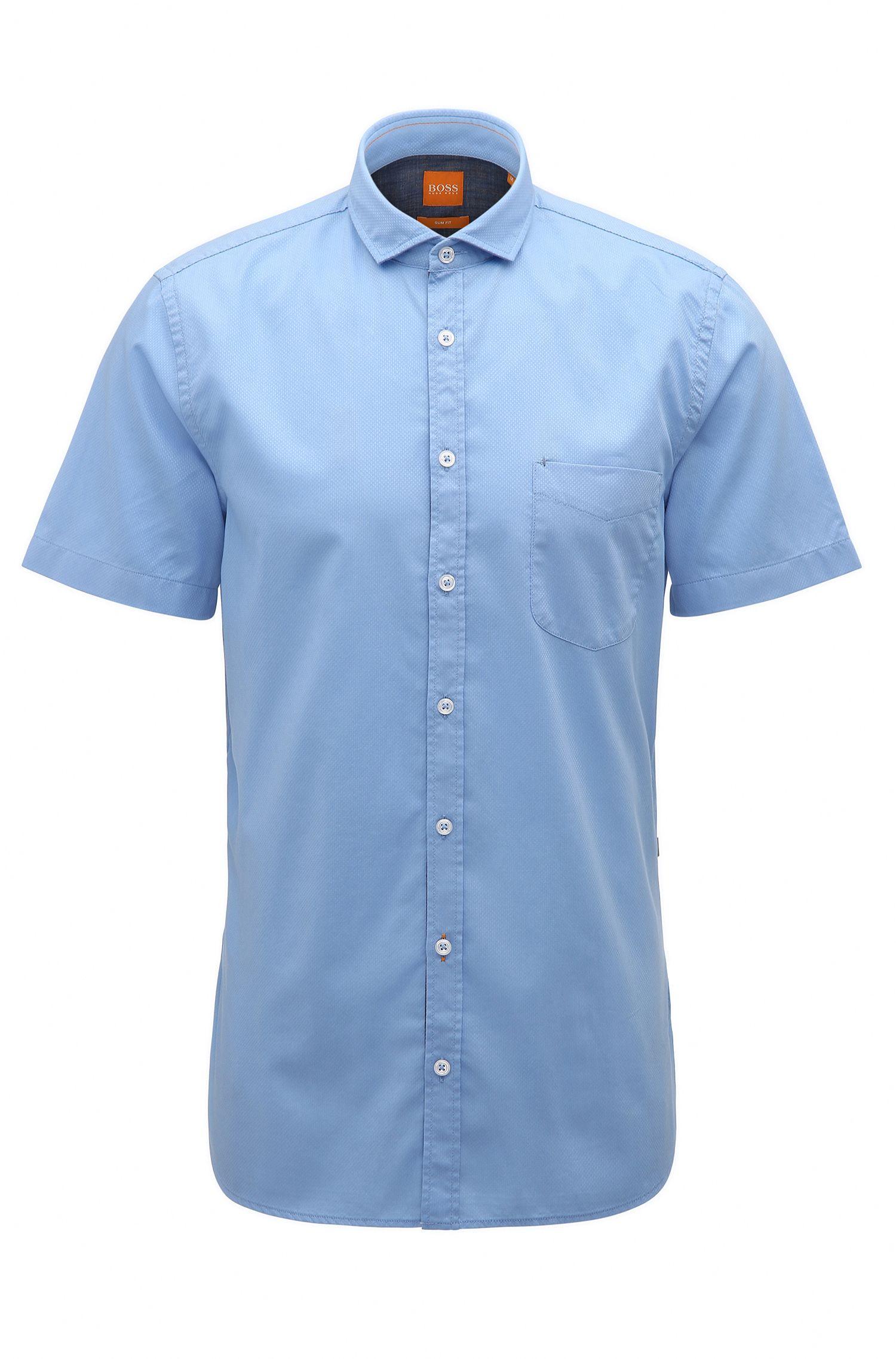 Slim-fit overhemd van dobbykatoen met korte mouwen