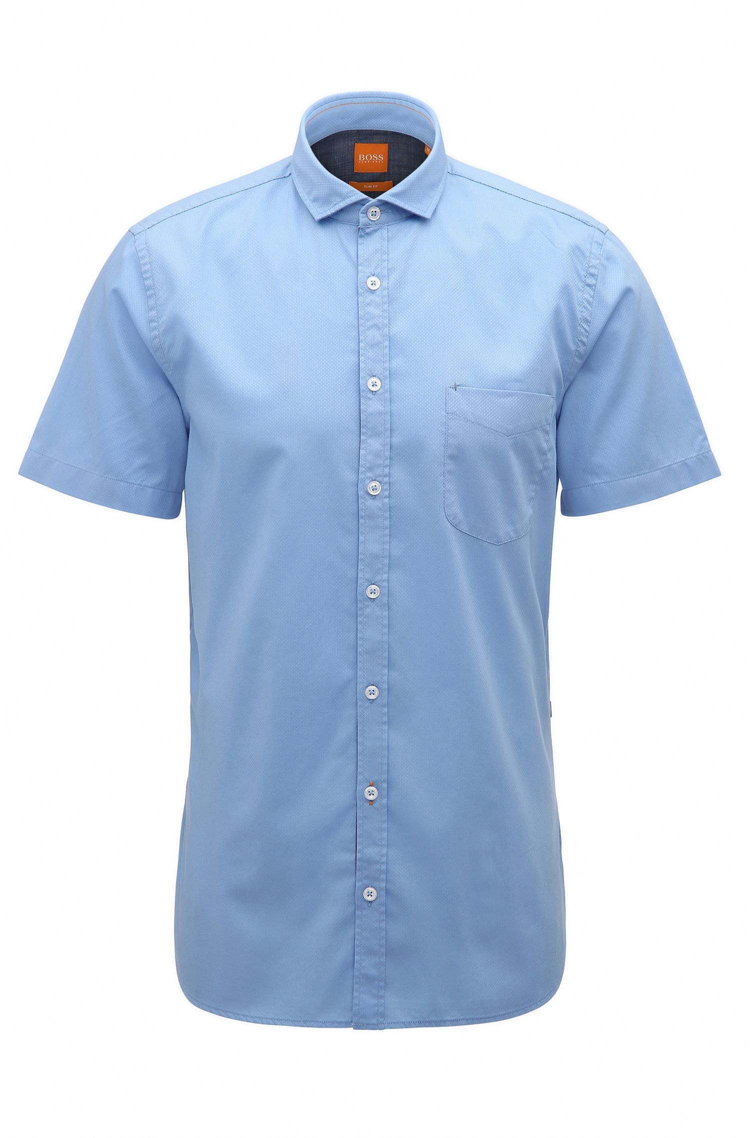 Slim-fit short-sleeved shirt in dobby cotton