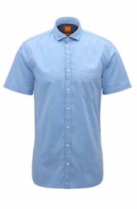 Slim-fit short-sleeved shirt in dobby cotton, Open Blue