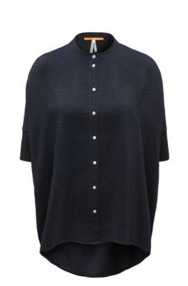 Oversize-fit blouse in seersucker silk, Dark Blue