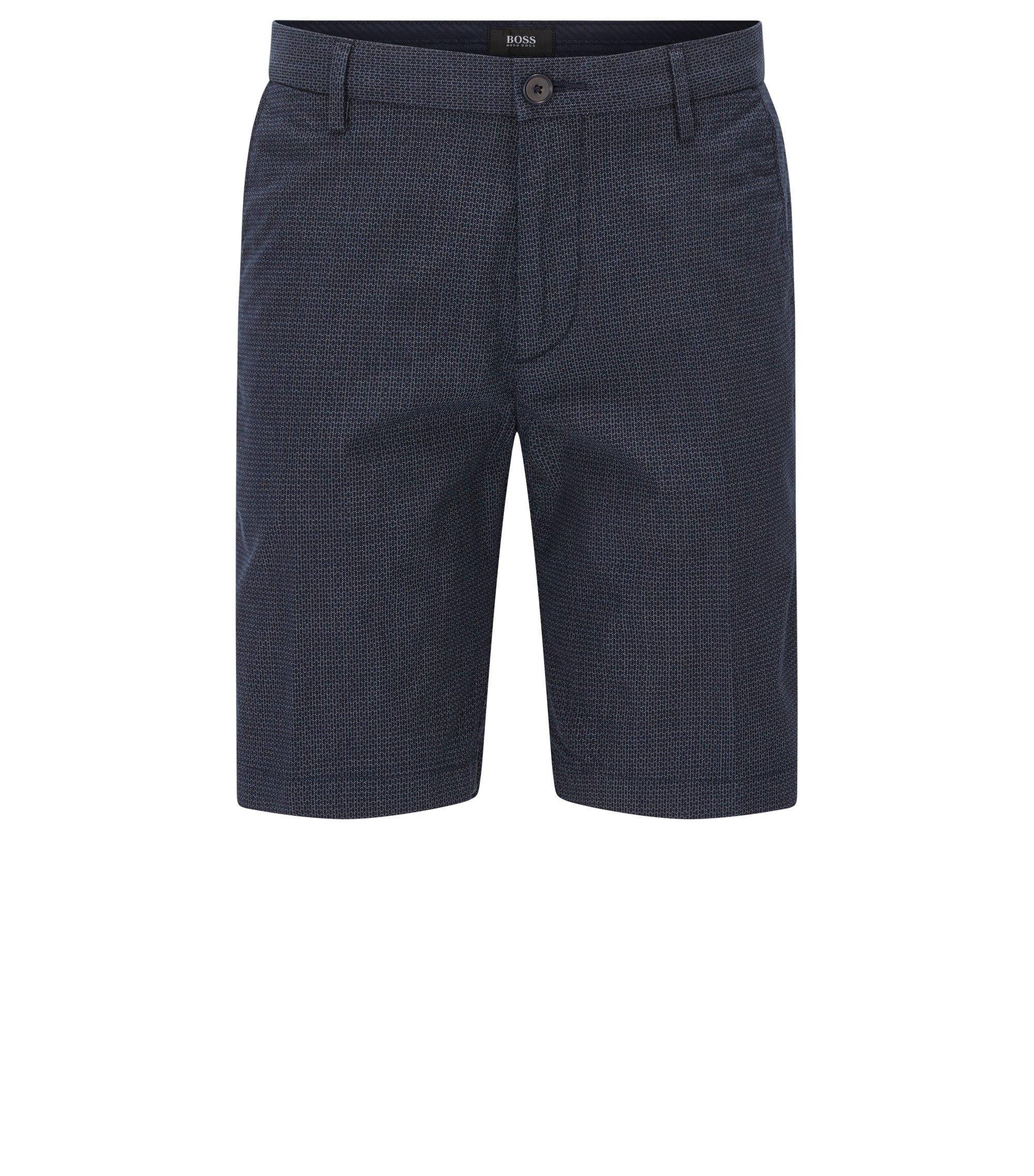 Short Slim Fit en coton stretch à motif3D , Bleu foncé