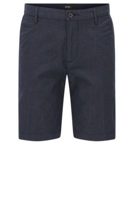 Slim-fit stretch-cotton shorts with 3D pattern , Dark Blue