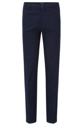 Chino Regular Fit en coton italien stretch, Bleu foncé