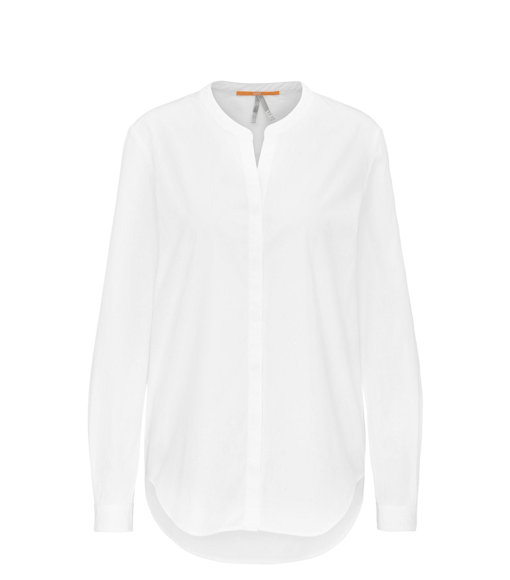 Regular-fit cotton poplin blouse with stand collar, White