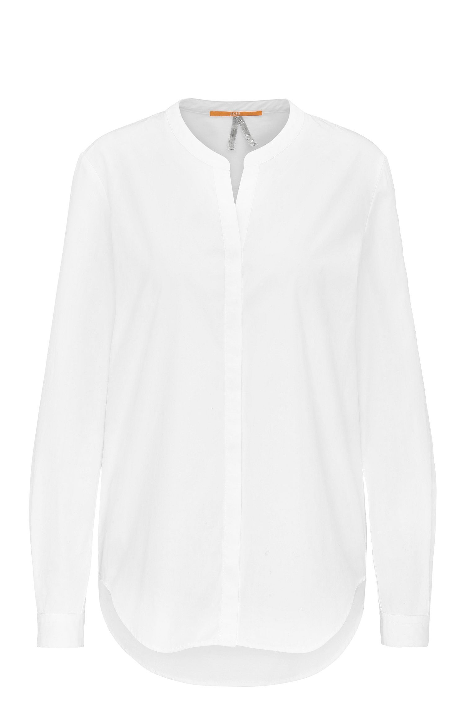 Regular-fit cotton poplin blouse with stand collar