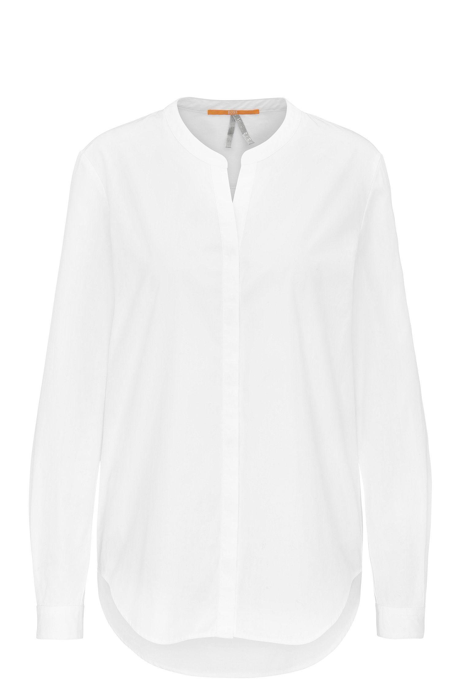 Regular-Fit Bluse aus Baumwoll-Popeline mit Stehkragen