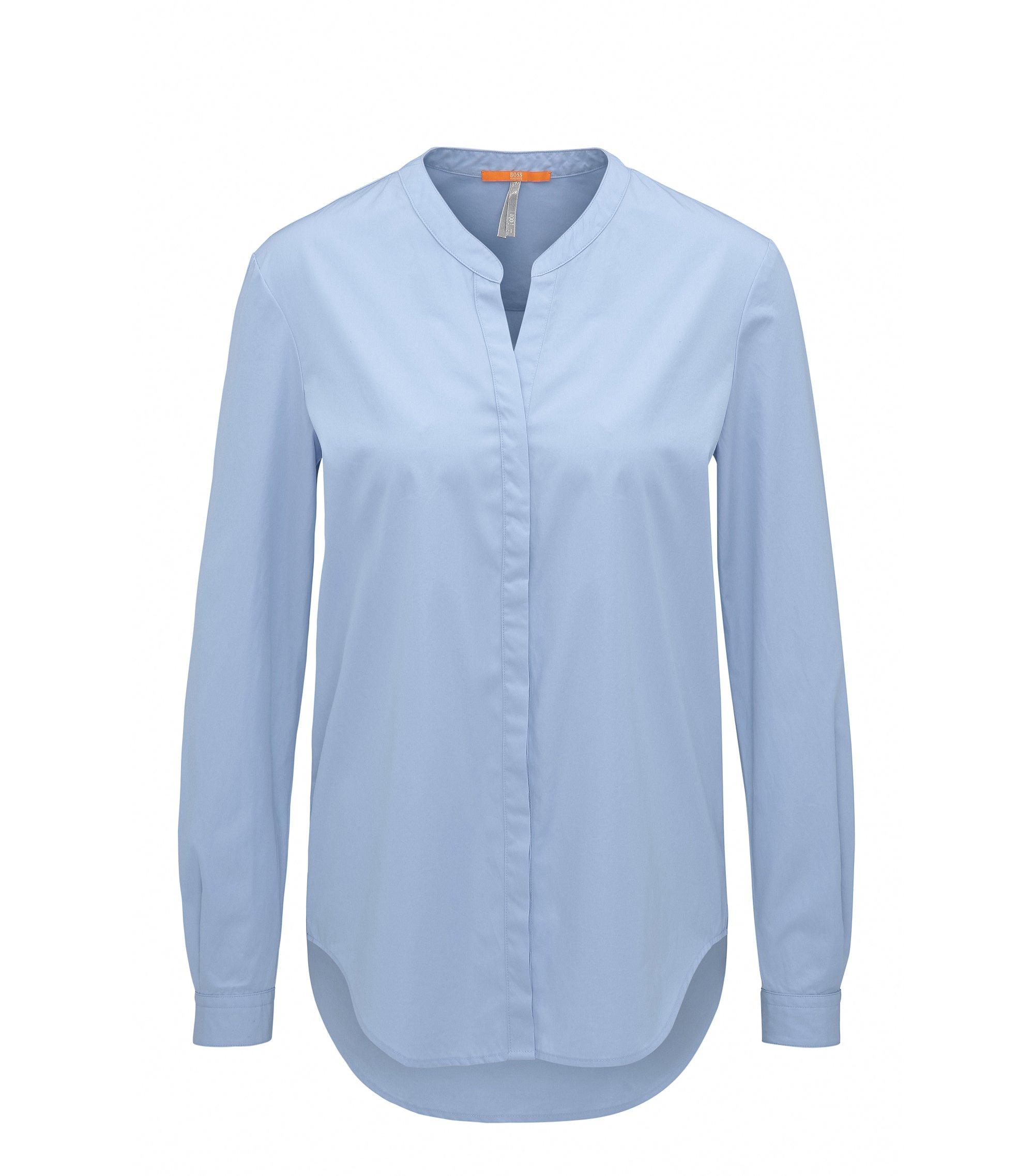 Blusa regular fit de popelín de algodón con cuello mao, Azul oscuro