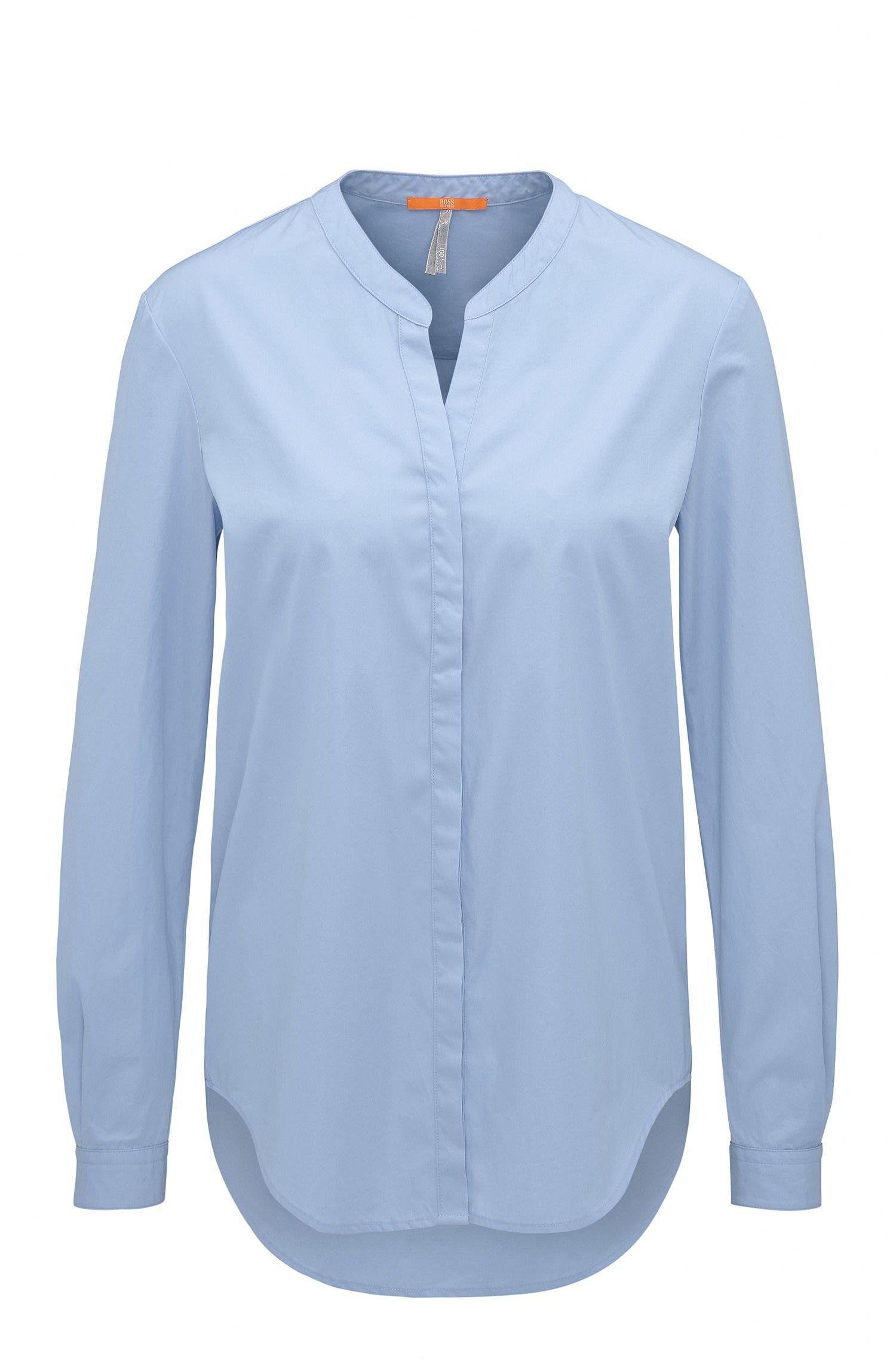 Blusa regular fit de popelín de algodón con cuello mao