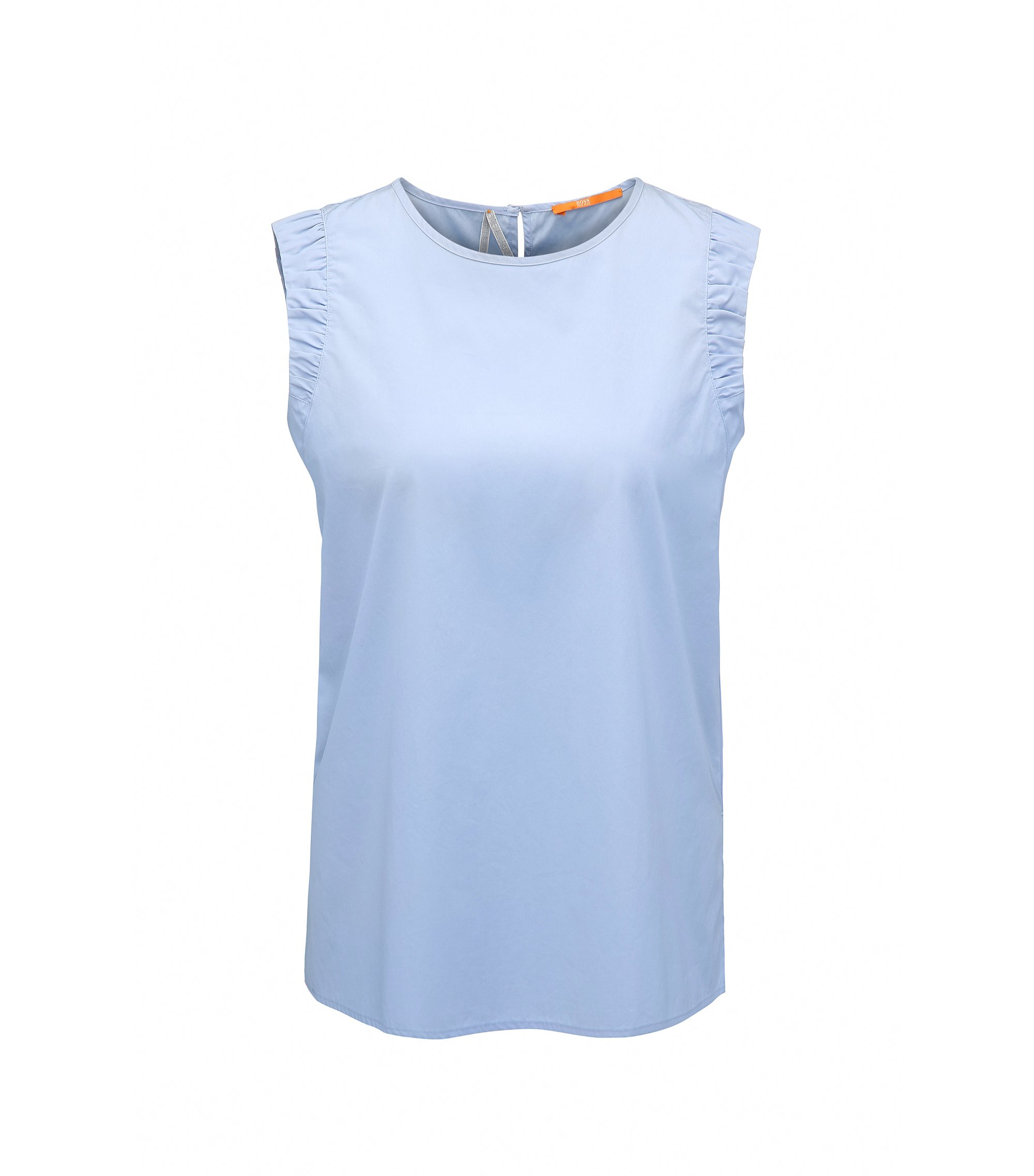 Sleeveless cotton poplin blouse with side slits , Dark Blue