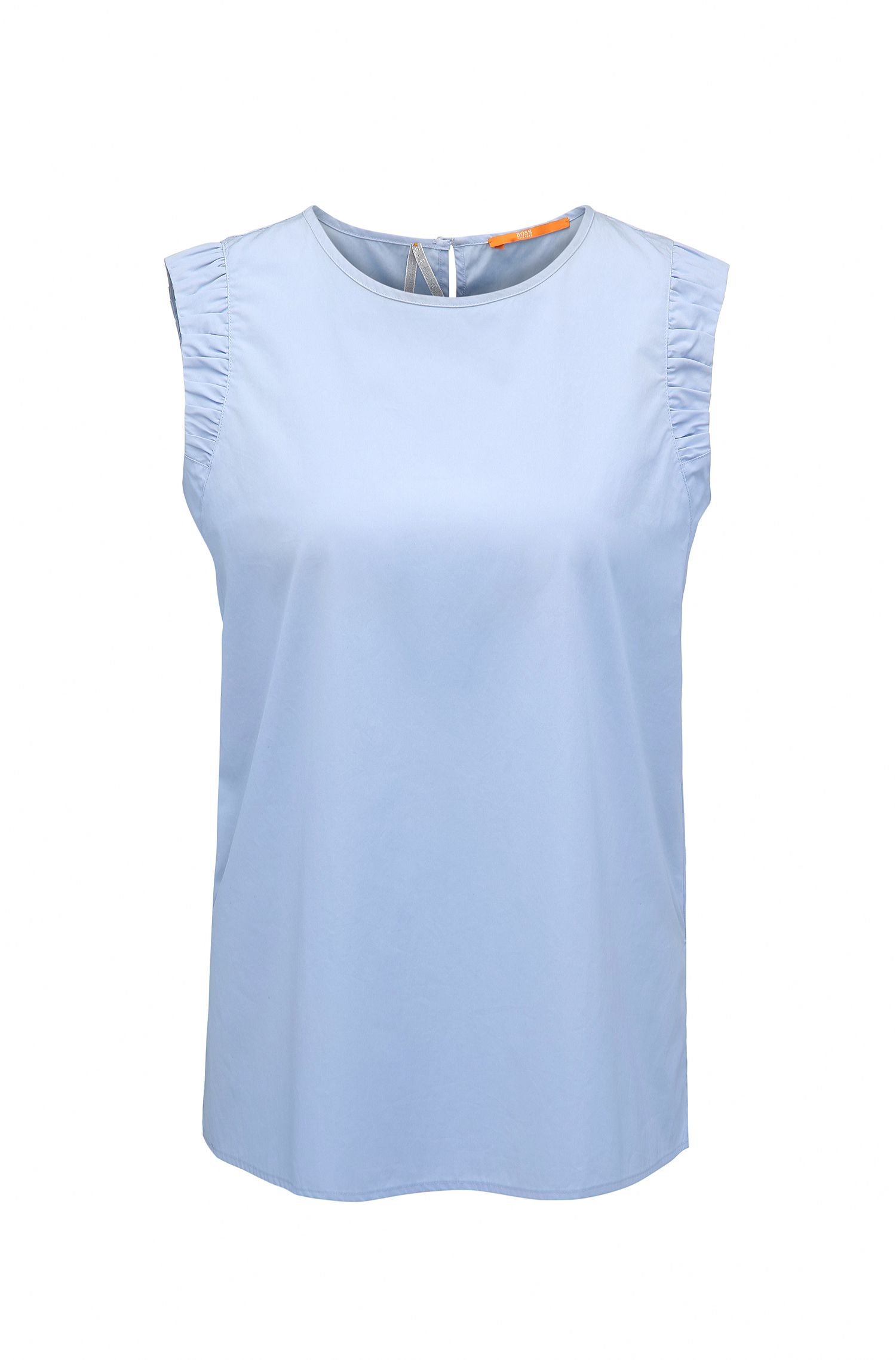 Sleeveless cotton poplin blouse with side slits
