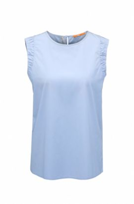 Sleeveless cotton poplin blouse with side slits , Open Blue