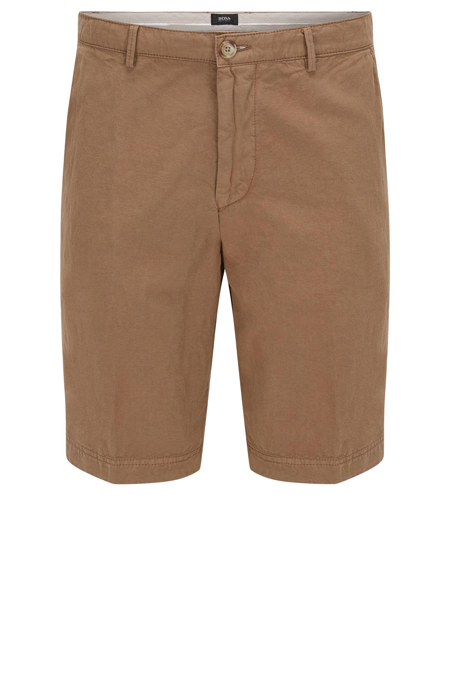 Shorts regular fit en sarga de algodón y lino