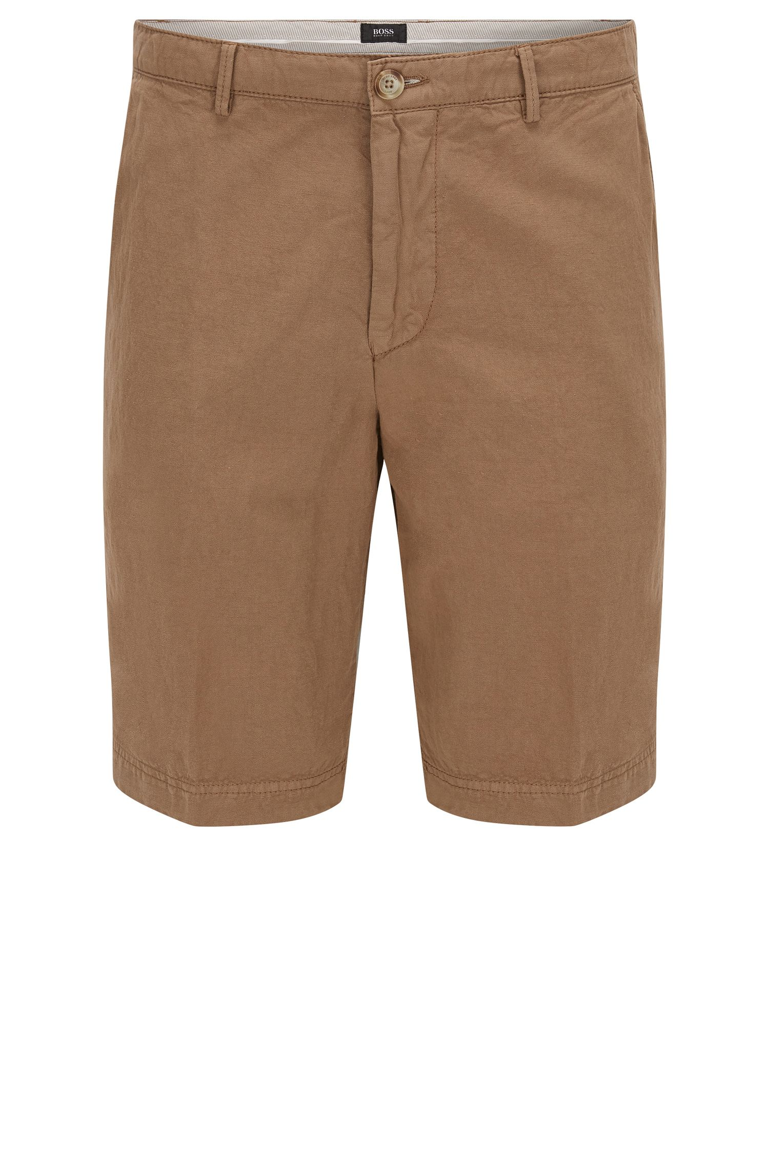 Regular-fit short in twill van katoen en linnen