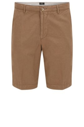 Regular-fit short in twill van katoen en linnen, Beige
