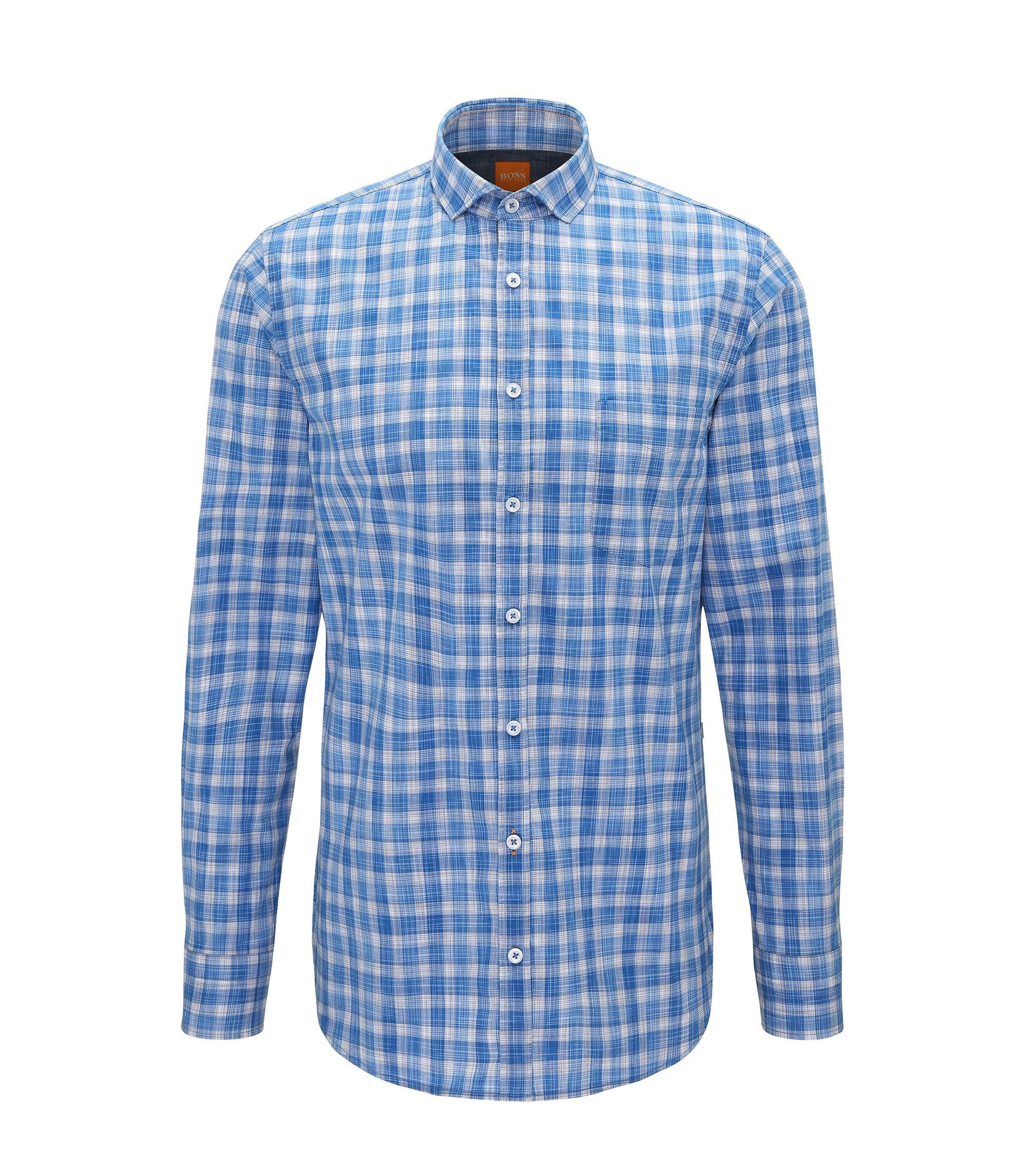 Slim-fit overhemd van katoenpopeline met ruitdessin, Donkerblauw