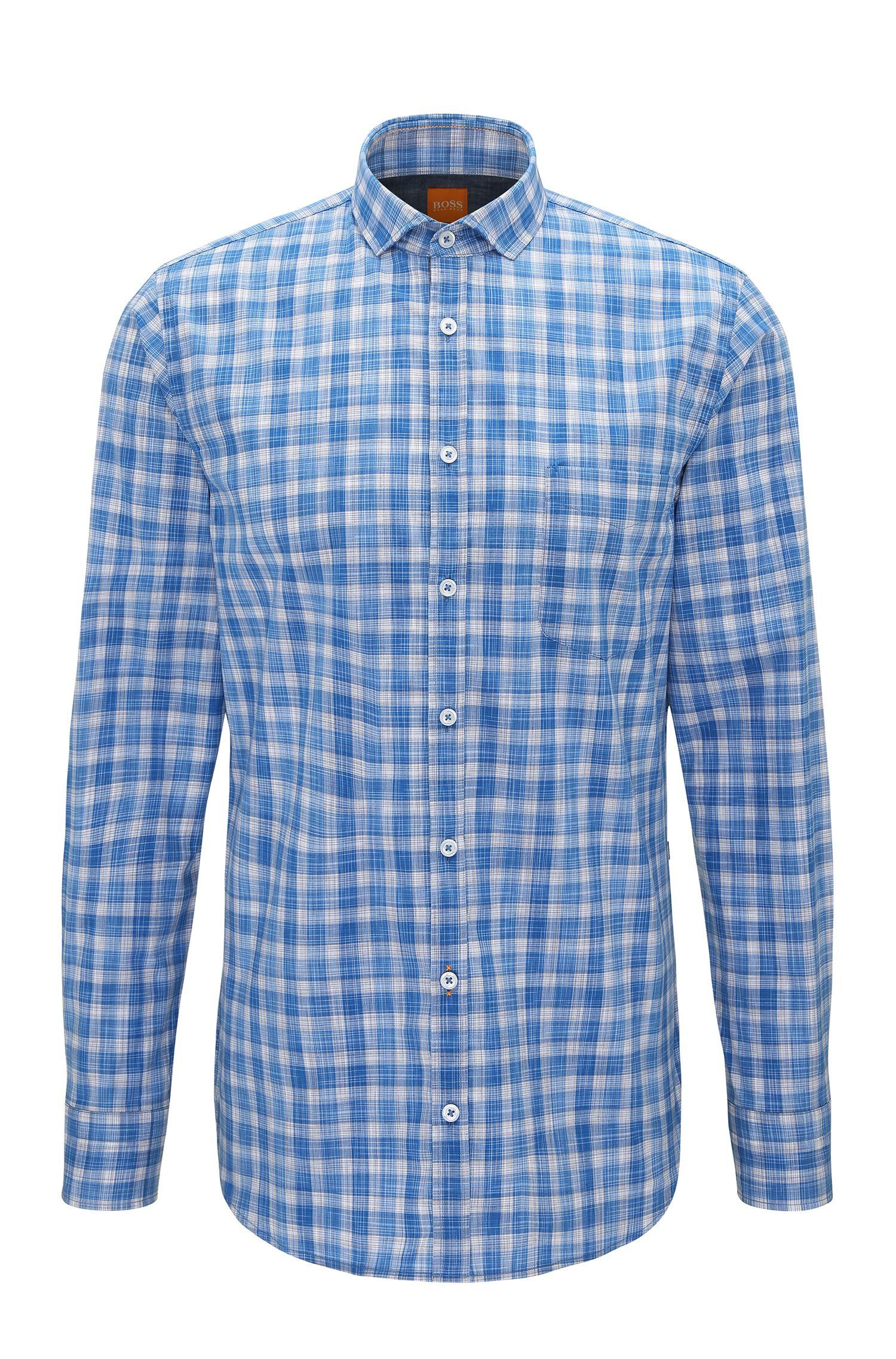 Kariertes Slim-Fit Hemd aus Baumwoll-Popeline