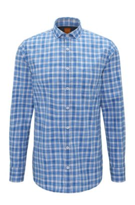 Camicia slim fit in popeline di cotone a quadri, Blue Scuro