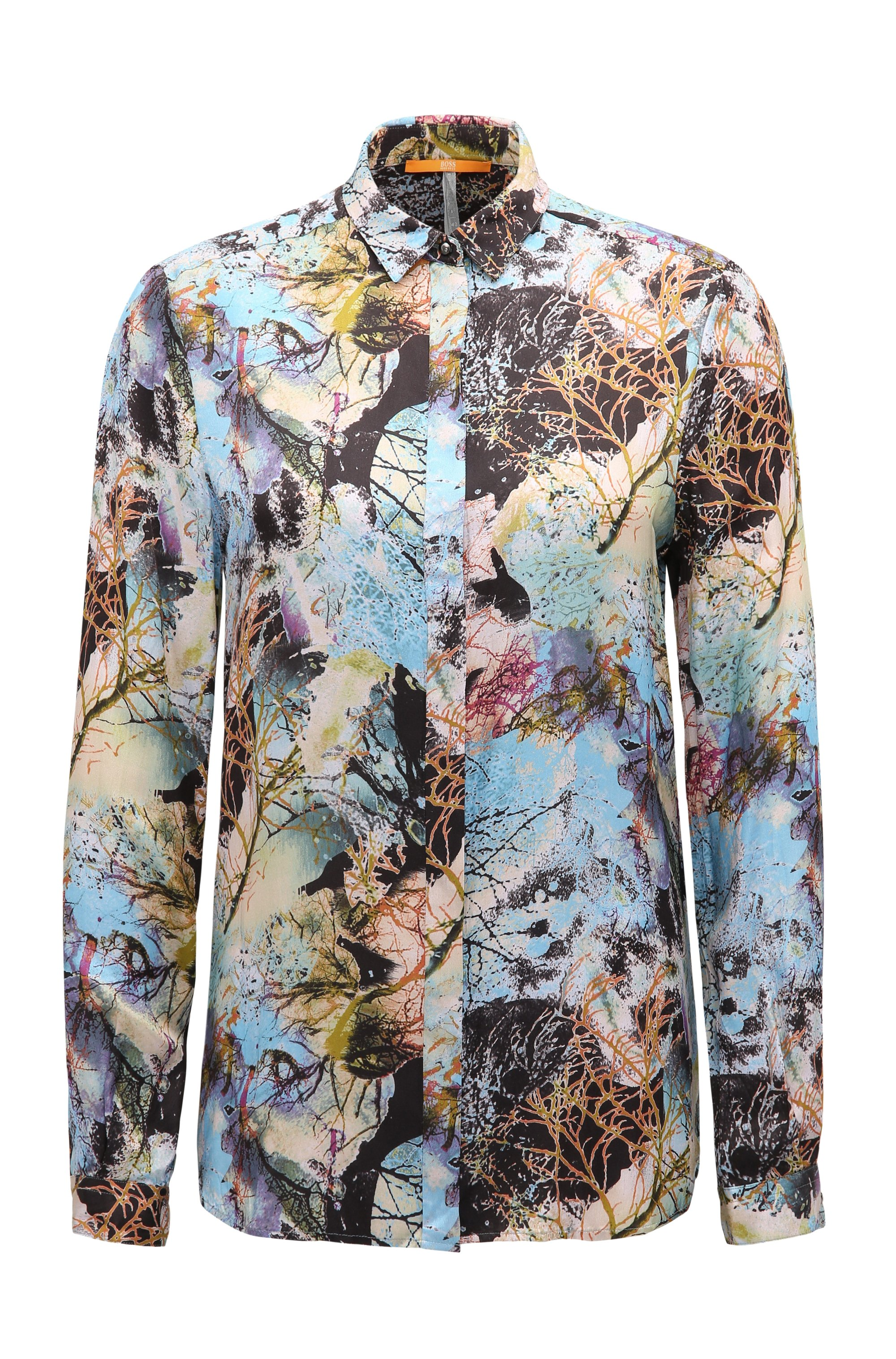 Regular-fit blouse in a nature-inspired print, Patterned