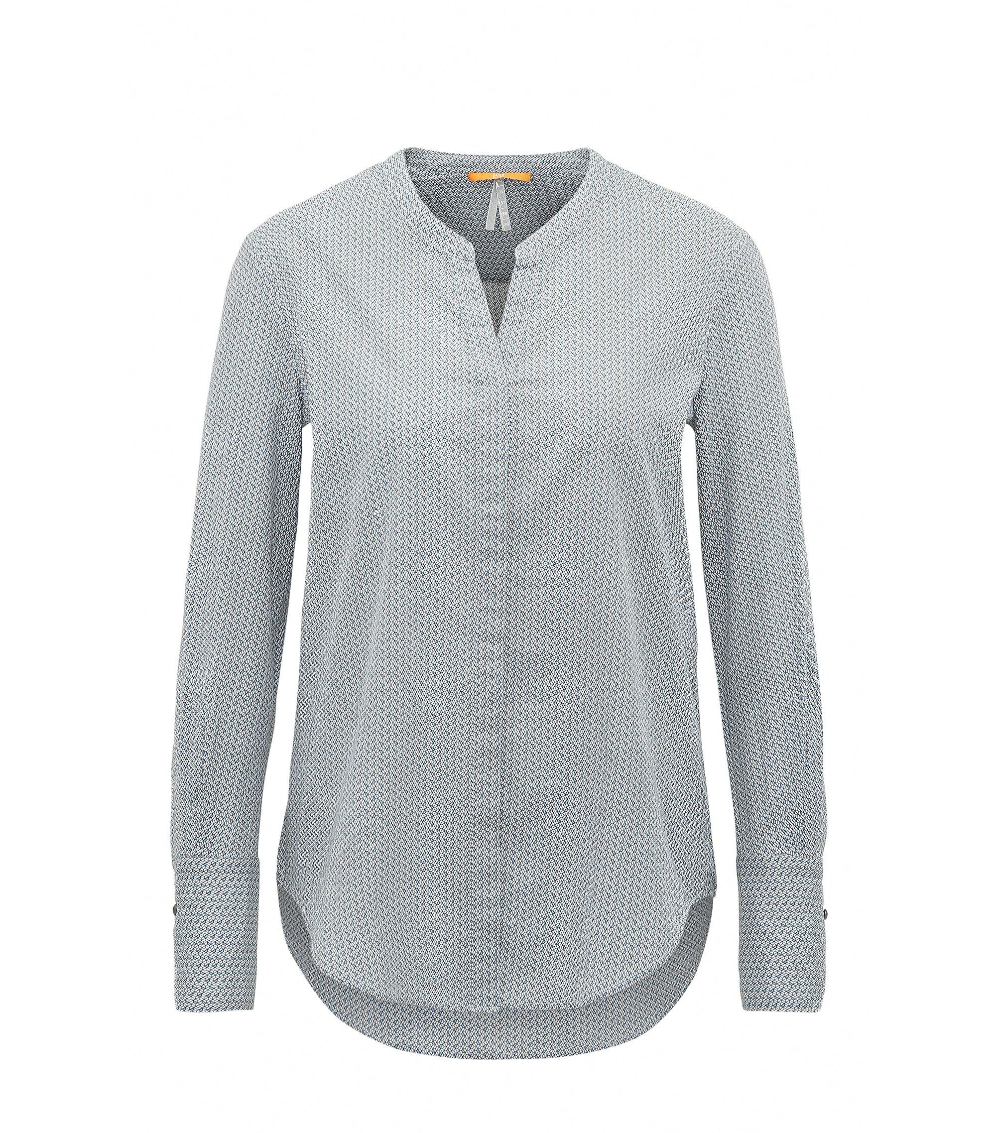 Blusa regular fit en voile de algodón con miniestampado geométrico, Azul oscuro